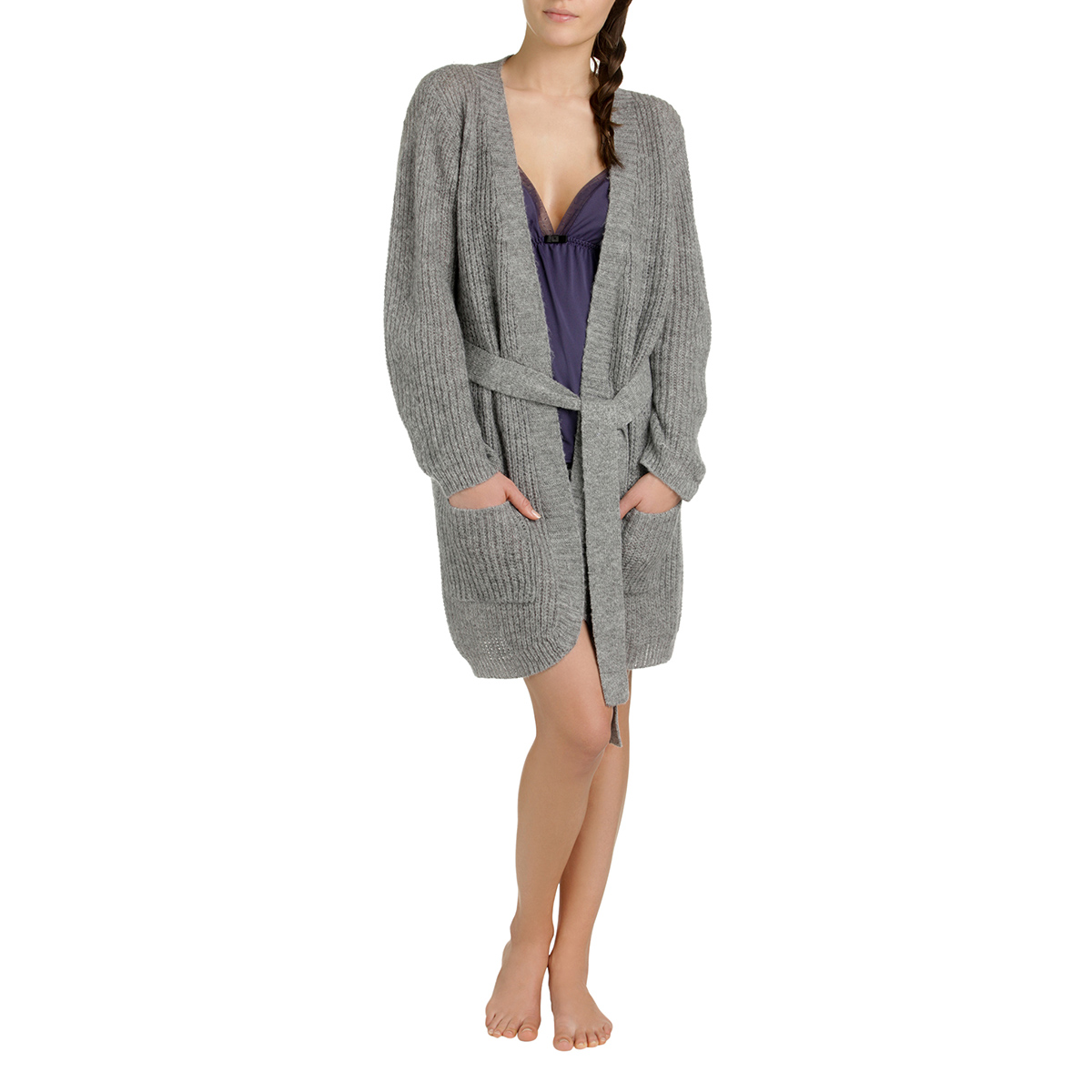 Cardigan cocooning gris chiné Femme