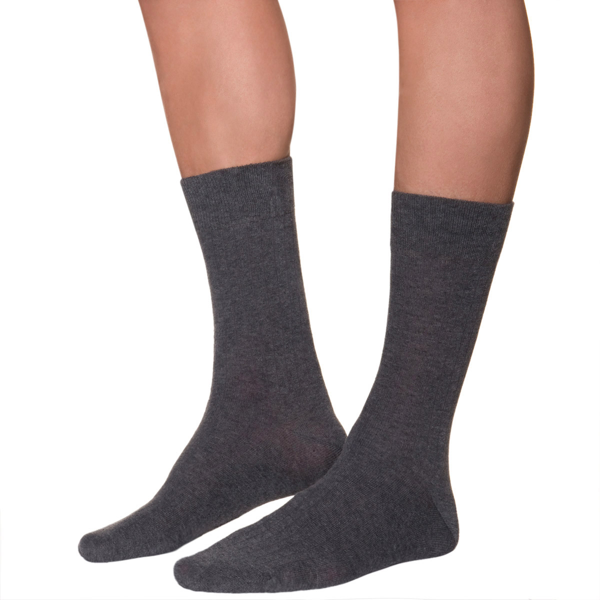 Mi-chaussettes anthracites à côtes Homme