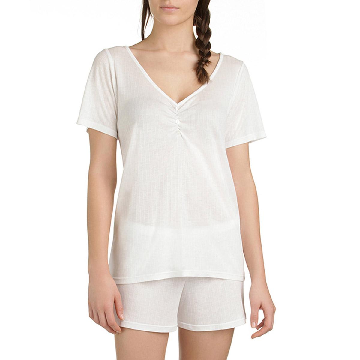 T-shirt de pyjama manches courtes nacre en lyocell Femme