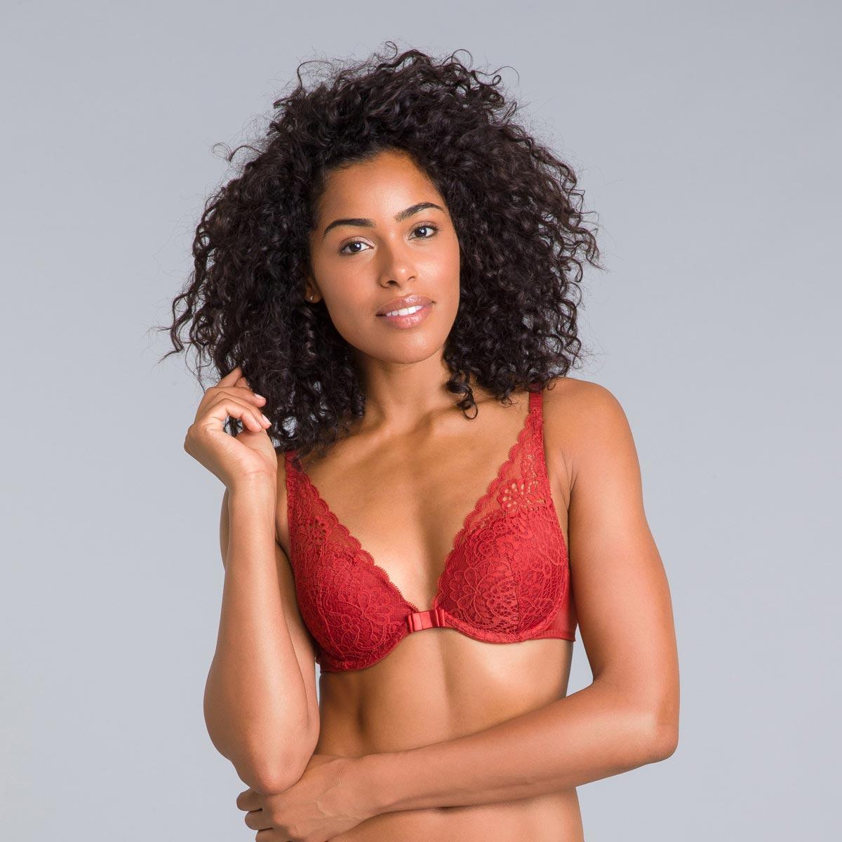 Soutien-gorge foulard push-up rouge cuivré Sublim Dentelle