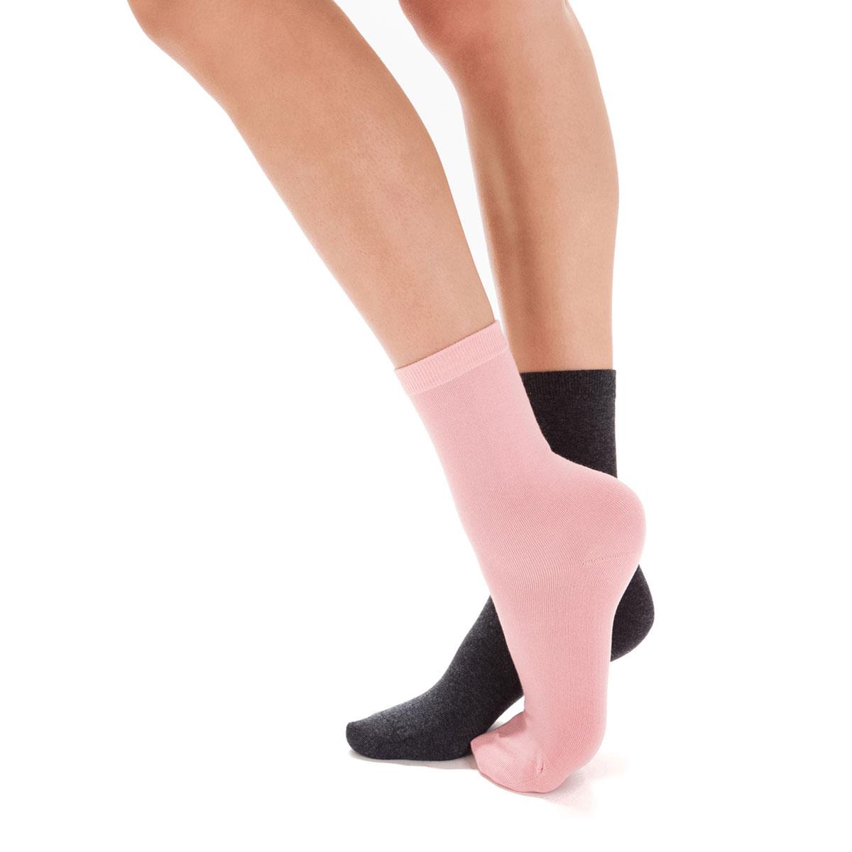 Lot de 2 paires de chaussettes anthracite et roses Femme