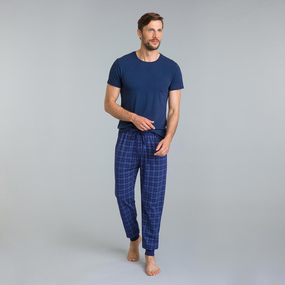 Pantalon de pyjama carreaux bleu Mix & Match