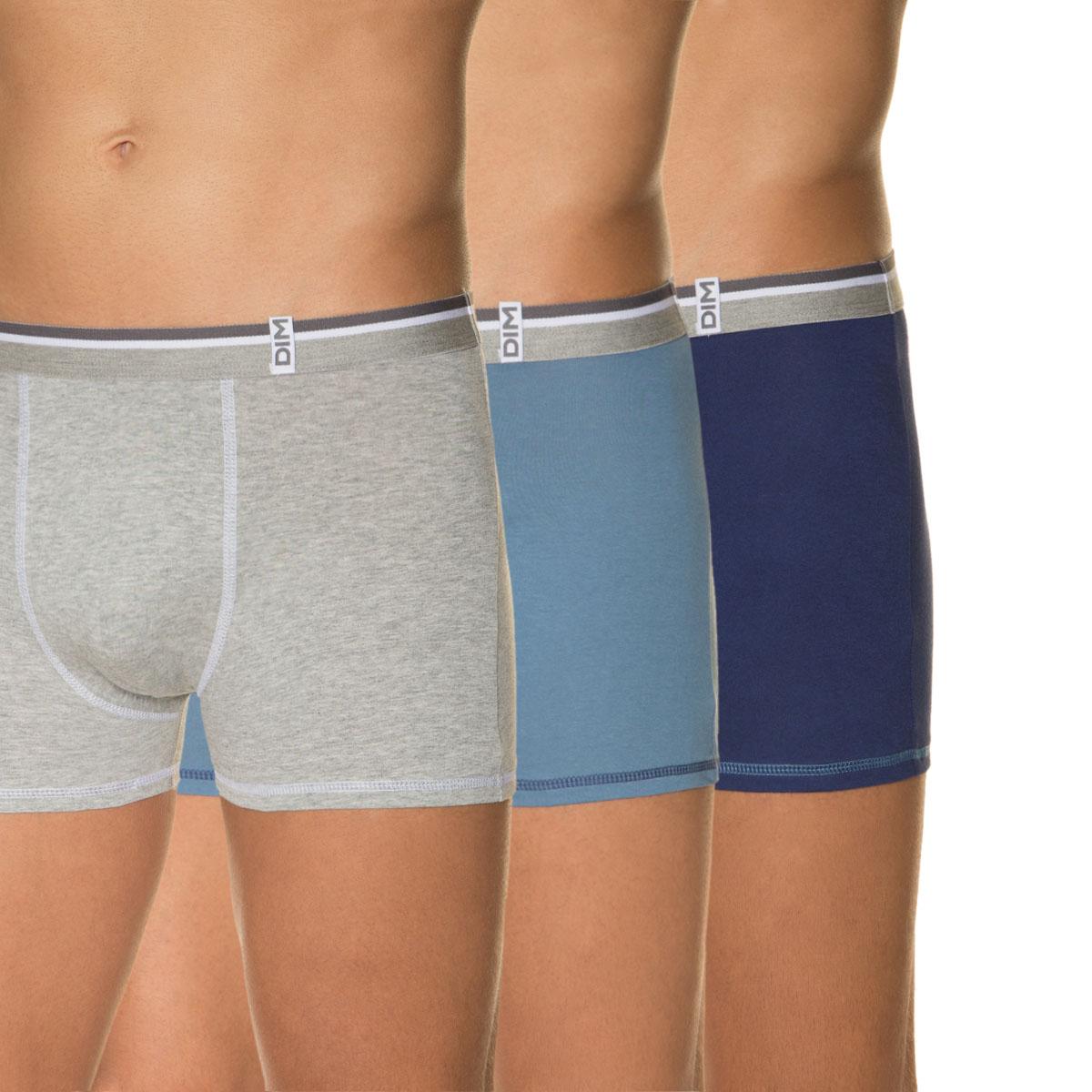 Lot de 3 boxers bleus et gris chiné 100% coton