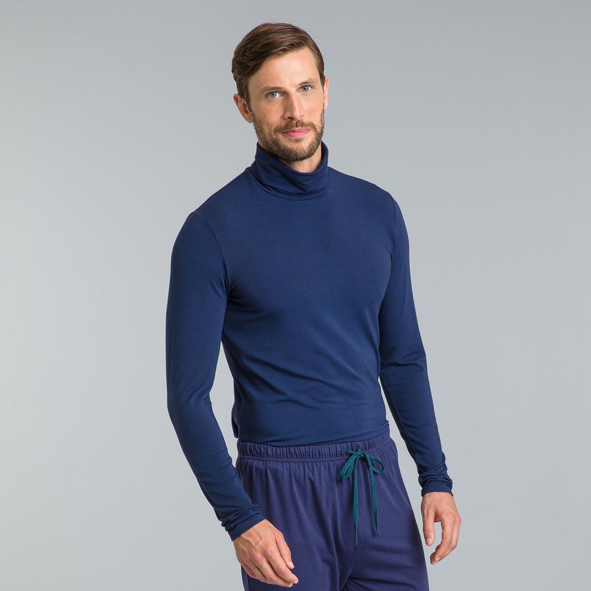 Tee-shirt de pyjama manches longues col roulé bleu marine