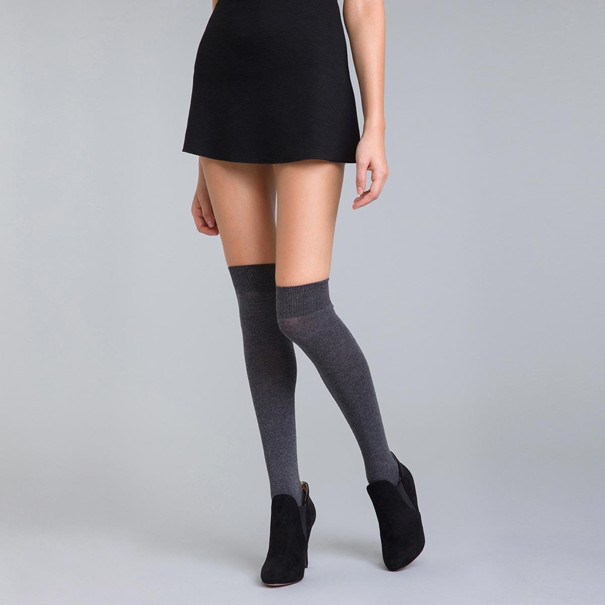 Chaussettes hautes anthracite chiné Coton Style Femme