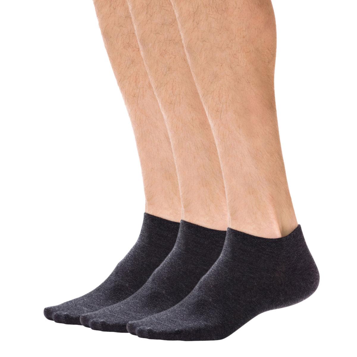 Lot de 3 paires de socquettes invisibles anthracites Homme