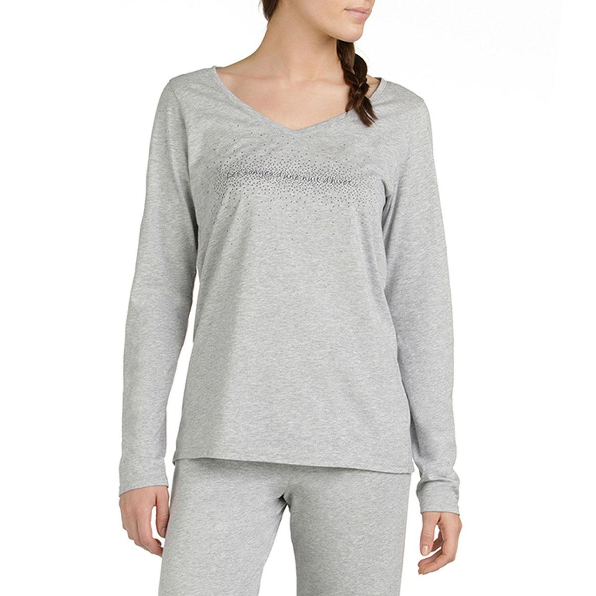 T-shirt de pyjama manches longues gris chiné Femme