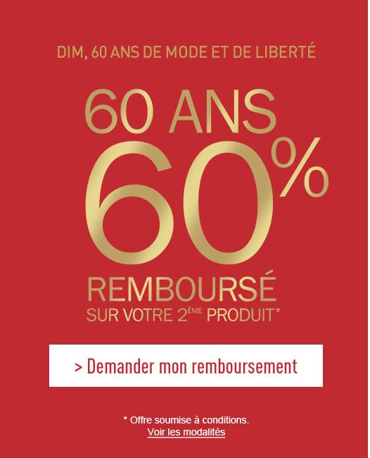 60 ans - 60% remboursé sur votre 2eme produit