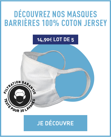 Nos masques barrières 100% coton Jersey